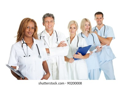 Portrait of smiling multiethnic medical team against white background