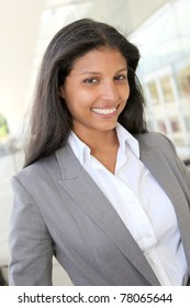 Portrait of smiling saleswoman