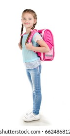 Portrait of smiling school girl child with school bag isolated on a white background education concept