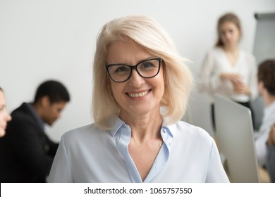 Portrait of smiling senior businesswoman wearing glasses with businesspeople at background, happy older team leader, female aged teacher professor or executive woman boss looking at camera, head shot