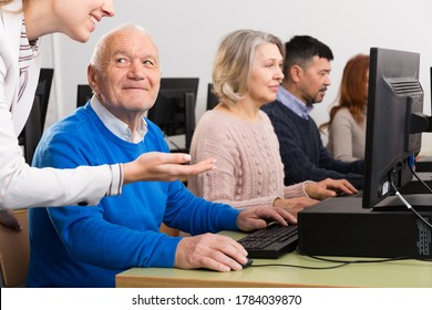 Portrait of smiling senior man during computer classes for elderly people at university of third age