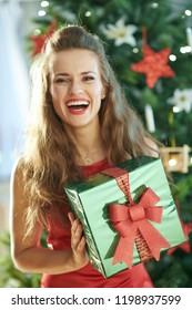 Portrait of smiling stylish woman in red dress with green Christmas present box near Christmas tree