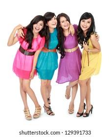 portrait of smiling teenage girls having fun together