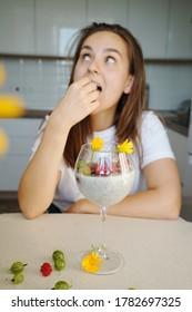 Portrait Smiling woman Chiapudding Kitchen Background Healthy Super Food Concept