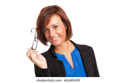 Portrait of a smiling woman holding her eyeglasses