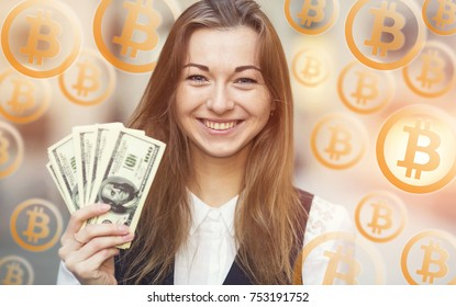Portrait smiling woman holding a lot of US hundred dollar bills on the bitcoin sign background. Bitcoin of crypto currency.