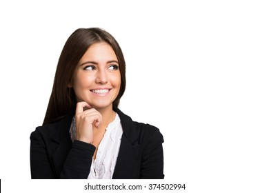 Portrait of a smiling woman. Isolated on a white background