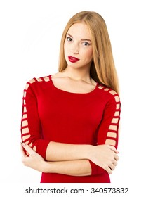 portrait of smiling woman in red dress. Fashion portrait.