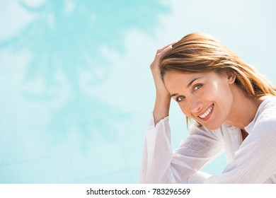 portrait of a smiling woman in summer