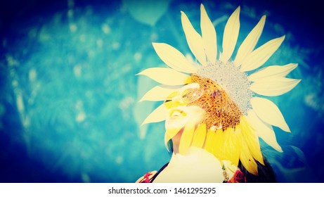 Portrait of a smiling woman in Sunflower, Double exposure, 16:9, horizontal, copy space, copy text. Summer time background