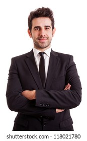 Portrait of a smiling young business man, isolated on white background
