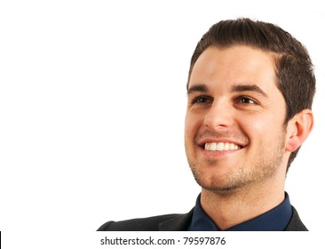 Portrait of a smiling young businessman isolated on white.