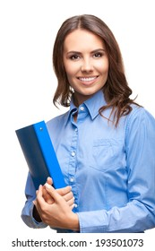 Portrait of smiling young businesswoman with blue folder, isolated over white background