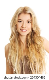 Portrait of smiling young caucasian woman.