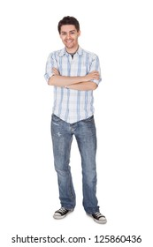 Portrait of smiling young man. Isolated on white