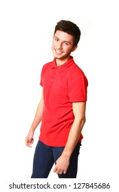 Portrait of smiling young man in a red T-shirt