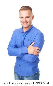 Portrait of smiling young man wearing a blue shirt isolated on white background