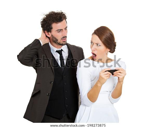 Portrait Sneaky Upset Jealous Possessive Boyfriend Stock Photo (Edit