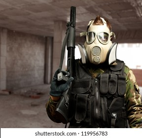 Portrait Of A Soldier With Gas Mask, indoor