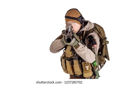 Portrait soldier or private military contractor holding automatic rifle. war, army, weapon, technology and people concept. Image on a white background.
