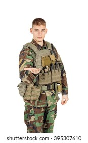 Portrait soldier or private military contractor holds out his hand with the palm facing upwards . war, army, weapon, technology and people concept. Image on a white background.