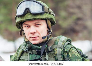 Portrait of a soldier of the Russian army with an automatic weapon in his hands