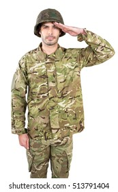 Portrait of soldier saluting on white background