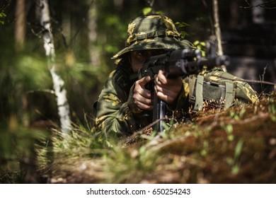 Portrait of soldier in uniforms