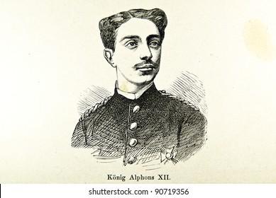 """Portrait of Spanish King Alfons XII. Illustration by Alwin Zschiesche, published on """"Illustrierts Briefmarken Album"""", Leipzig, 1885."""