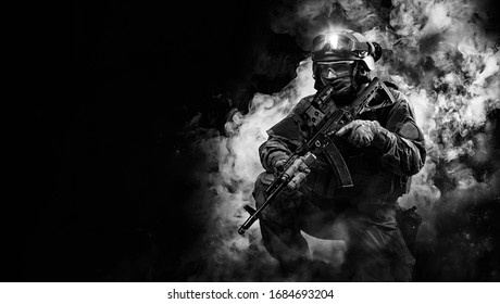 Portrait of a special forces soldier. The concept of military units. Computer games. Mixed media