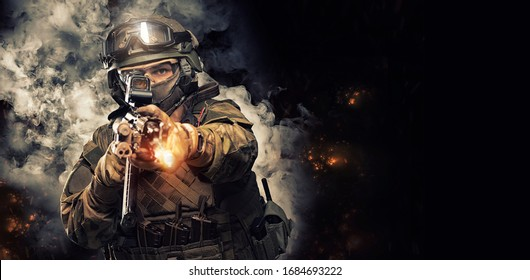 Portrait of a special forces soldier who is aiming at a collimator sight of a machine gun. The concept of special military units. Computer games. Mixed media
