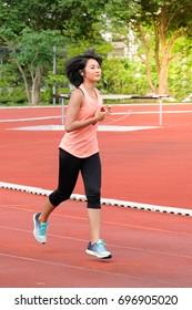 Portrait sport girl. Running.