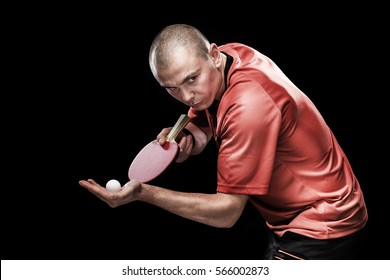 Portrait of sports man, male, athlete playing table tennis isolated on black background