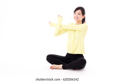 portrait of sporty asian woman isolated on white background