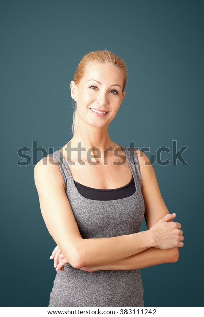 Portrait Sporty Woman Arms Crossed Standing Stock Photo