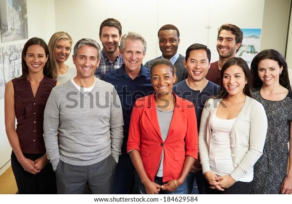 Portrait Of Staff In Modern Multi-Ethnic Office