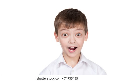 Portrait of the staggered boy on a white background