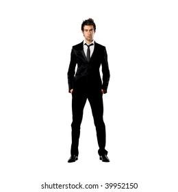 portrait of standing man in formal suit