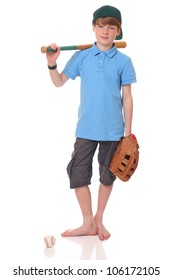 Portrait of a standing young baseball player on white background