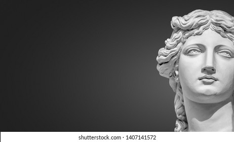 Portrait of a statue of young beautiful sensual Renaissance Era women in Vienna at smooth gradient grey background, Austria, details, closeup