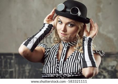 ca44416c348 Portrait Steampunk Woman Hatbowler Hat Goggles Stock Photo (Edit Now ...