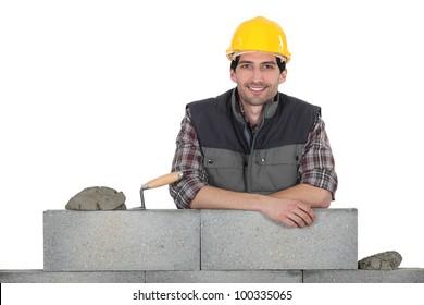 Portrait of a stonemason at work