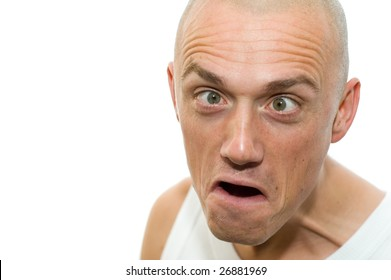 Portrait of a strange looking boy, eyes crossed