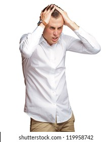Portrait Of Stressed And Suffering Man On White Background