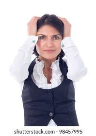 Portrait of stressed woman having head pain