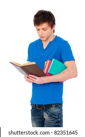 portrait of  student with books over white background