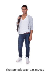 Portrait Of Student Man Isolated Over White Background