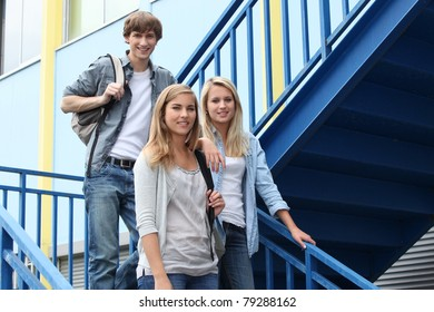 portrait of students in stairs