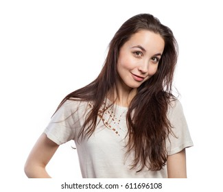 Portrait in studio of a beautiful young woman, isolated on white