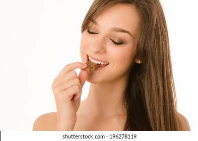 Portrait, Studio Shot,  Young Adult, Young Women, eating, chocholate, suggar, sweets,
